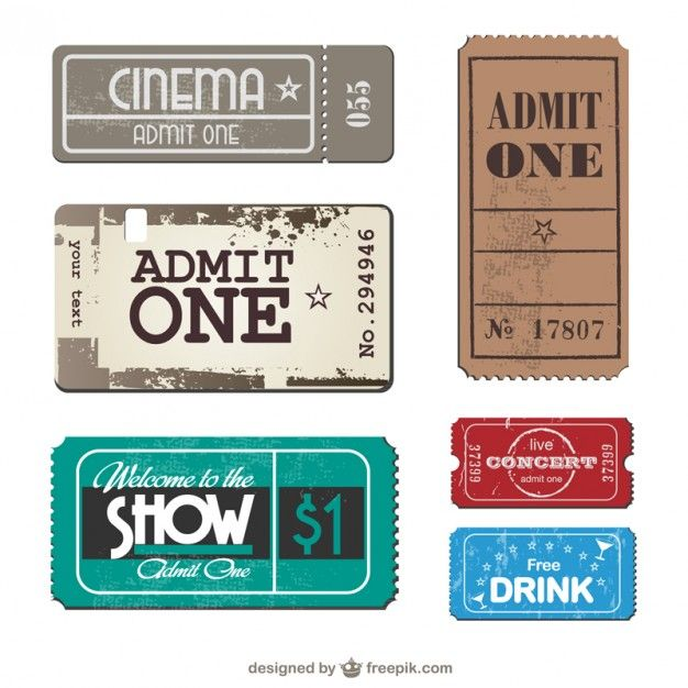Billets collection vector set Project life, Ephemera and - printable movie ticket template