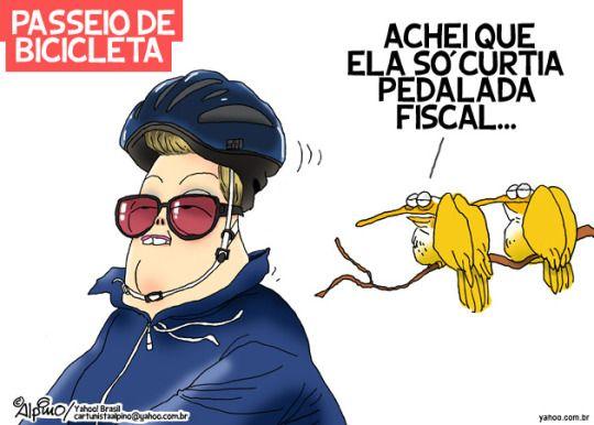 """Pedaladas... Aliás, magricela como está, Dilma, seguindo as orientações de seus marqueteiros, decidiu pedalar para aparecer na mídia e transformar a """"pedalada econômica"""" em agradável passeio pelas avenidas da capital."""