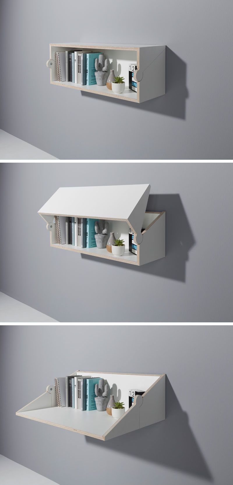 Michael hilgers has designed a floating shelf that transforms into a