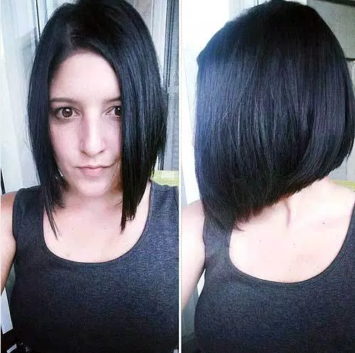Inverted Jet-Black Chin-Länge geschnitten