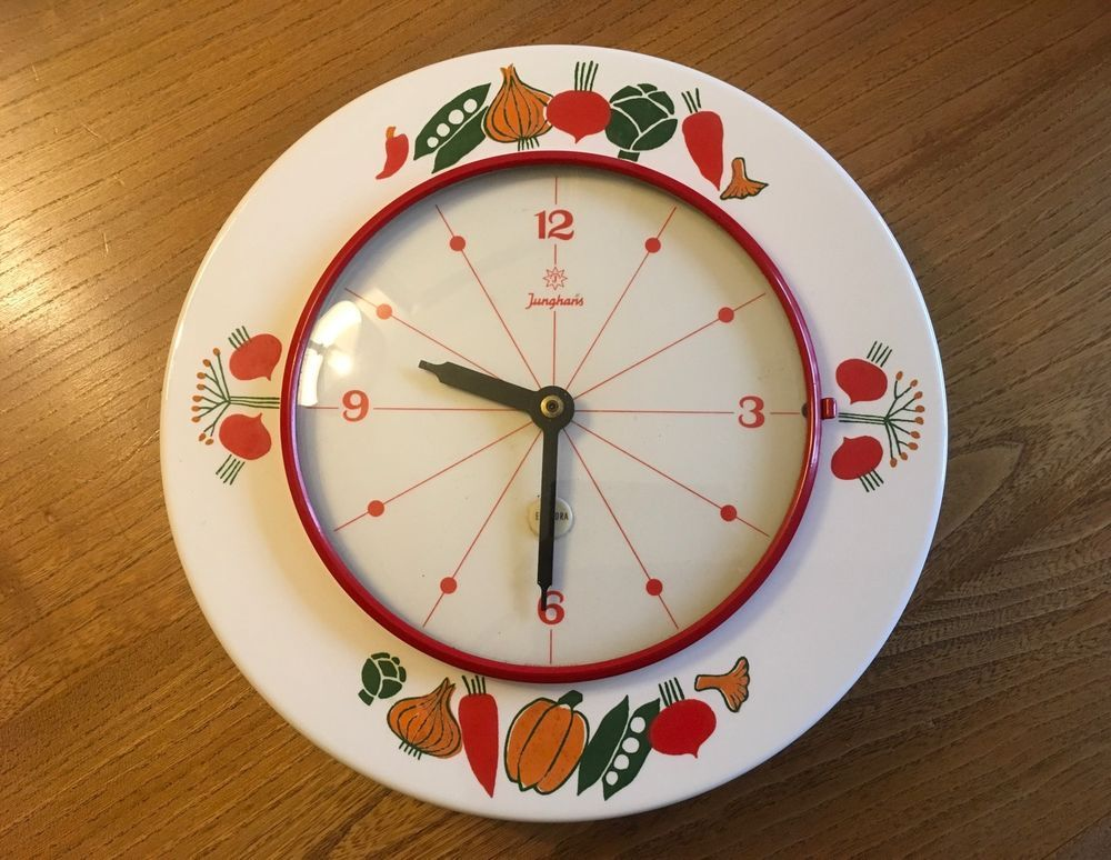 Pleasing Vtg Junghans Electora 50S 60S Kitchen Clock Vegetable Home Interior And Landscaping Synyenasavecom