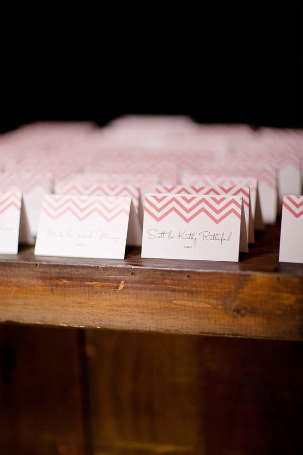 #escort-cards, #chevron  Photography: Britt Rene Photo - brittrenephoto.com Floral Design: Twig & Twine - twigandtwinedesign.com  Read More: http://www.stylemepretty.com/2012/10/23/la-wedding-at-marvimon-from-britt-rene-photo/