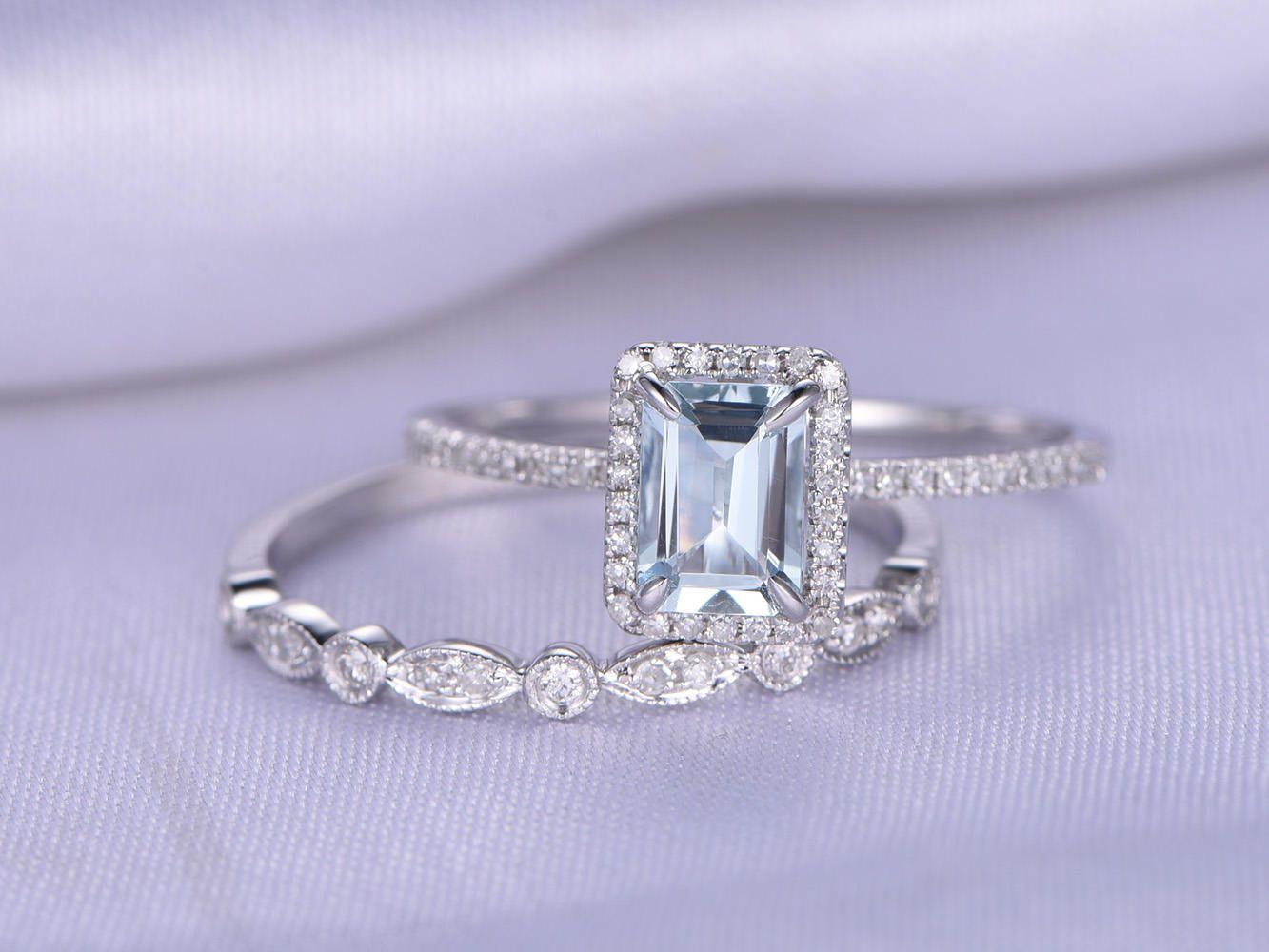 Bridal Ring Set Aquamarine Engagement Ring 5x7mm Emerald Cut Natural Gemstone 14k White Gold Art Deco Diamond Wedding Band Customized #aquamarineengagementring
