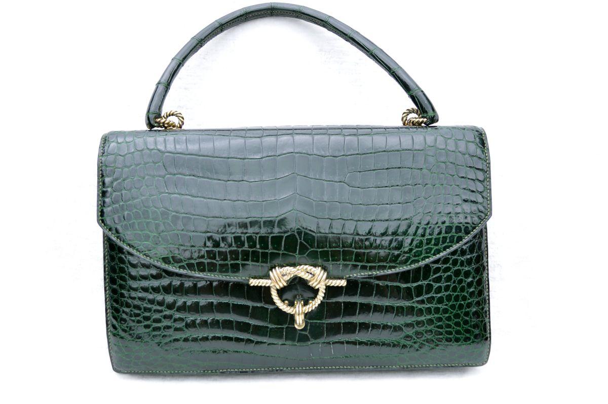 720a450610 Vintage 1950 s-60 s HERMES Sac Cordeliere CROCODILE POROSUS Handbag ...