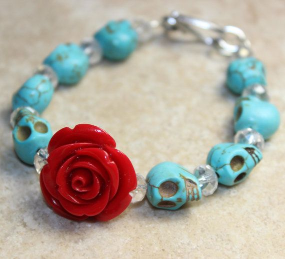 Sugar Skull Jewelry Day of the Dead Red Rose and Sugar Skull Bracelet Halloween jewelry via Etsy