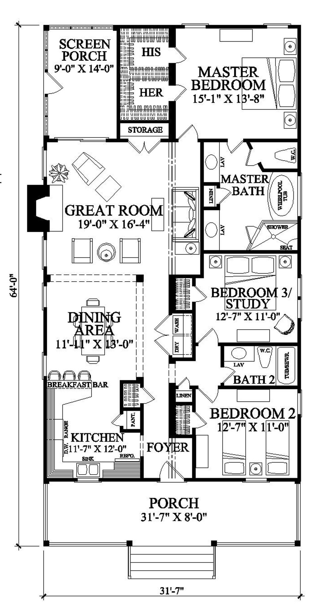 Southern style house plan 3 beds 2 baths 1643 sq ft plan for Southern colonial floor plans