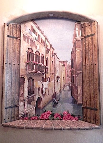 mural of venice inside niche with faux wood shutters by carmen illustrates carmenillustrates. Black Bedroom Furniture Sets. Home Design Ideas