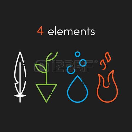Compra imágenes y fotos : Vector Nature basic elements: Water, Fire, Earth, Air. Icons on dark background Image 51737530.