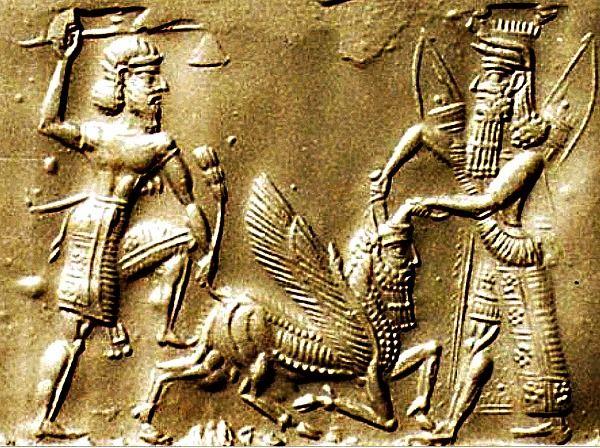 Gilgamesh and Enkidu from the mythology of Samaria battle ...  Gilgamesh and E...