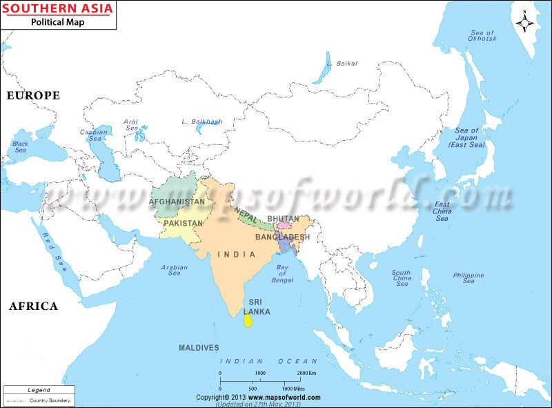 Boundary Map Of Asia.South Asia Map Shows International Boundary Of The South Asian