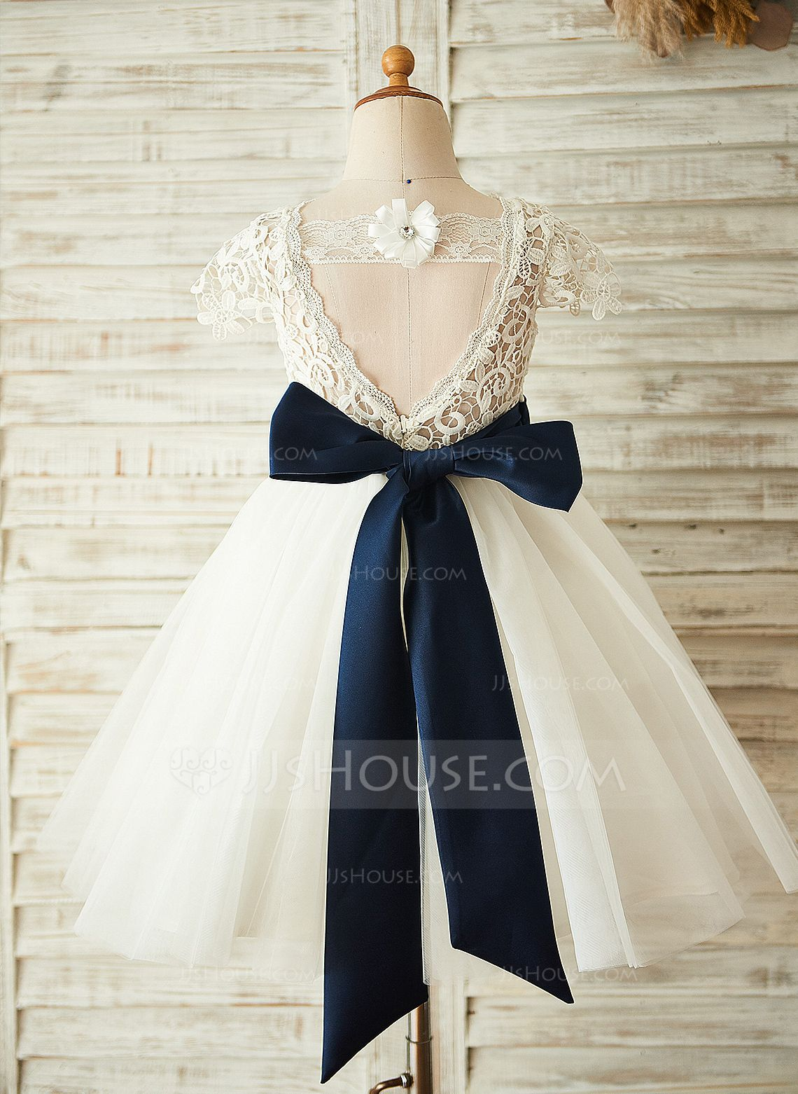 44e87e52c34 A-Line Princess Knee-length Flower Girl Dress - Tulle Lace Sleeveless Scoop  Neck With Sash Flower(s) Back Hole (010104926) - JJsHouse