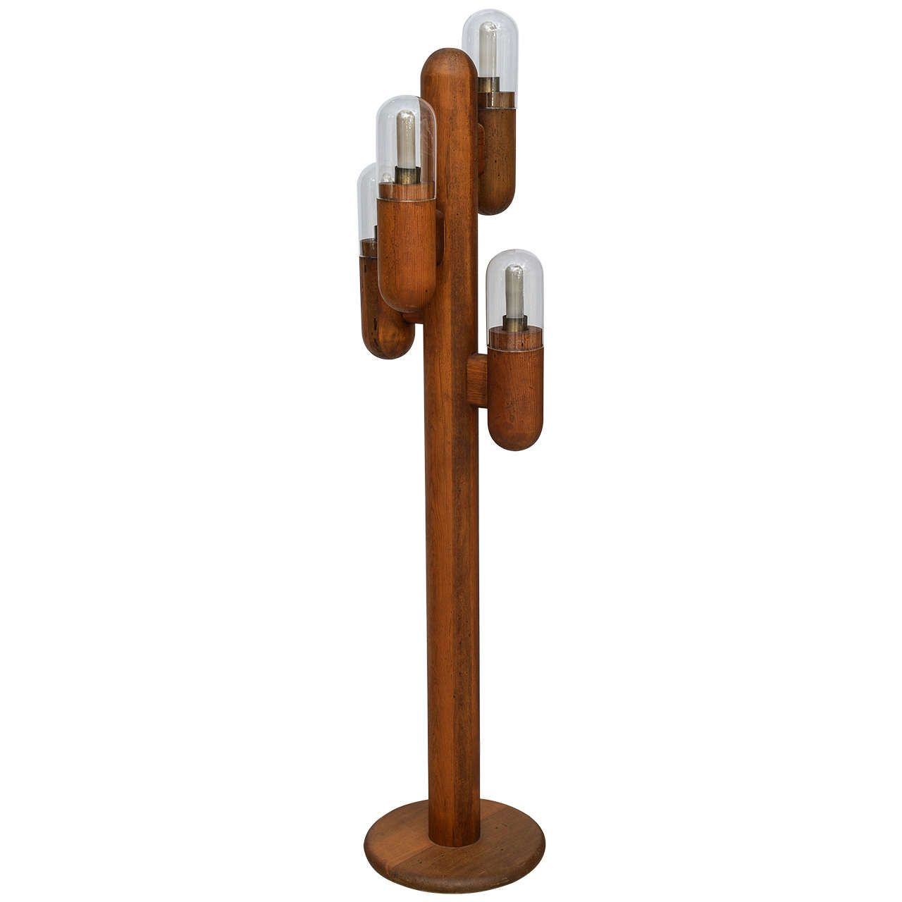 Mid Century Modern Wood Cactus Shaped Floor Lamp