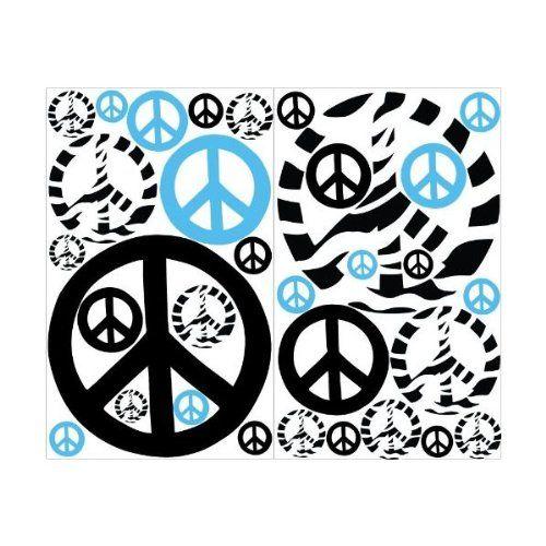 Amazon.com - Blue Zebra Print Peace Sign Wall Stickers / Decals Mini ...