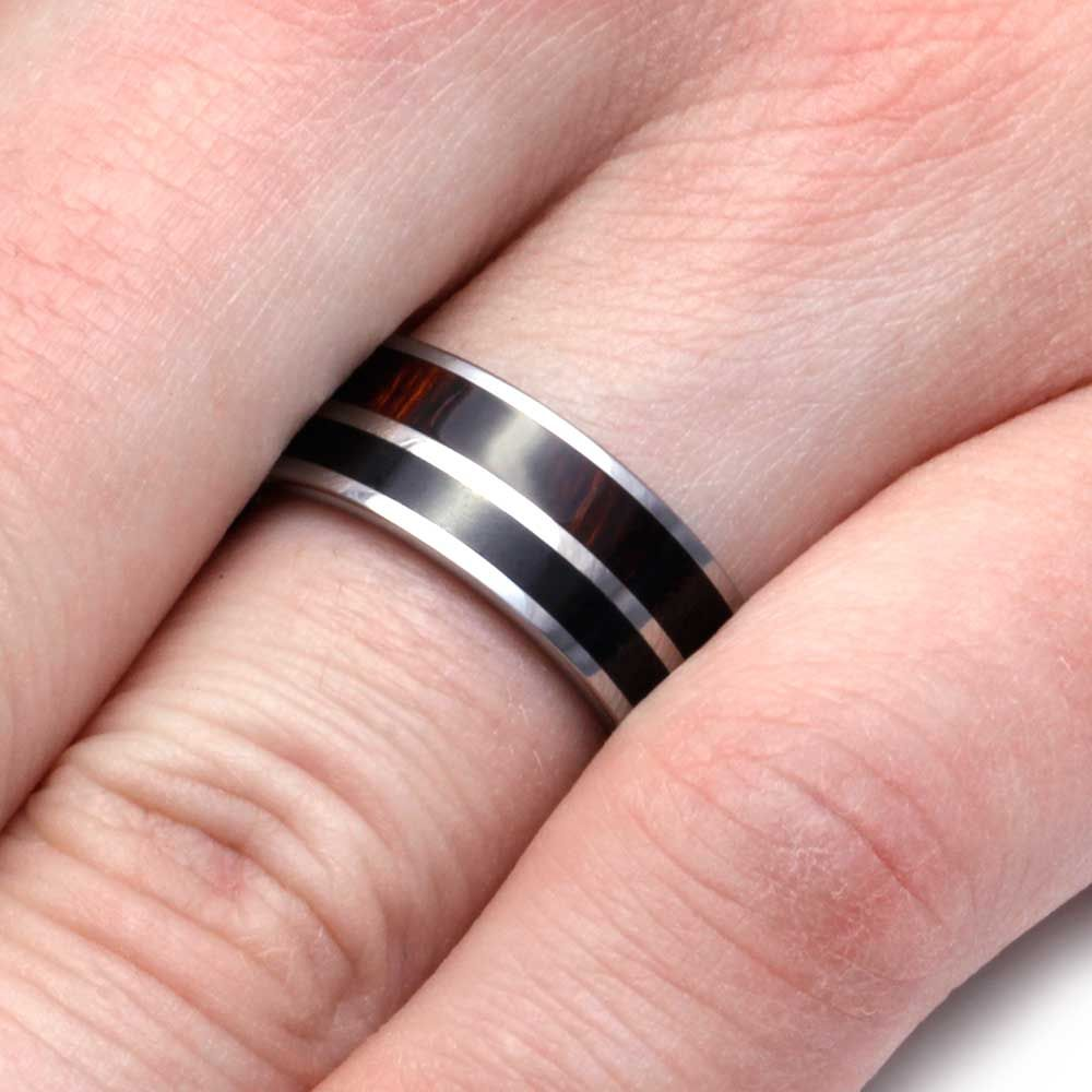 Obsidian Ring In Tungsten With Ironwood Complement-2930 | Tungsten ...