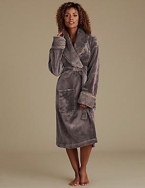 16b3544a66 Faux Fur Trim Dressing Gown