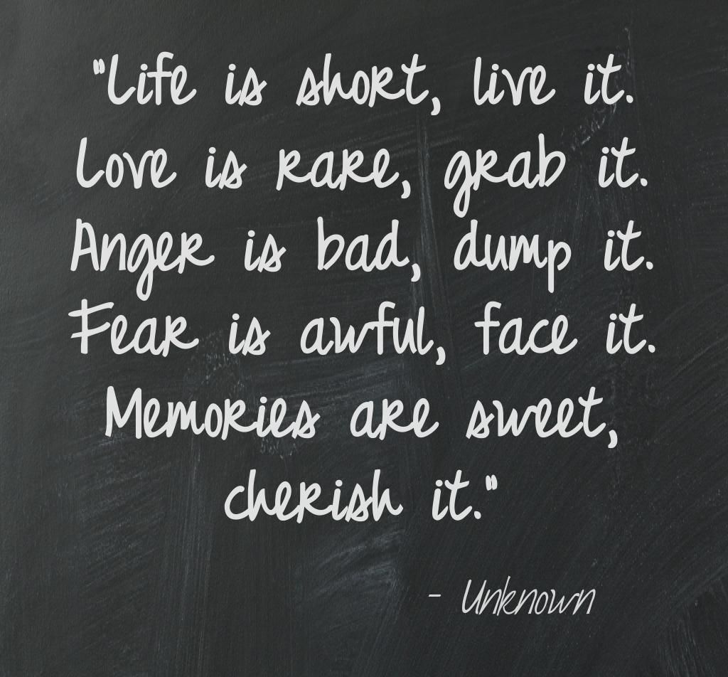"""""""Life is short, live it. Love is rare, grab it. Anger is ..."""