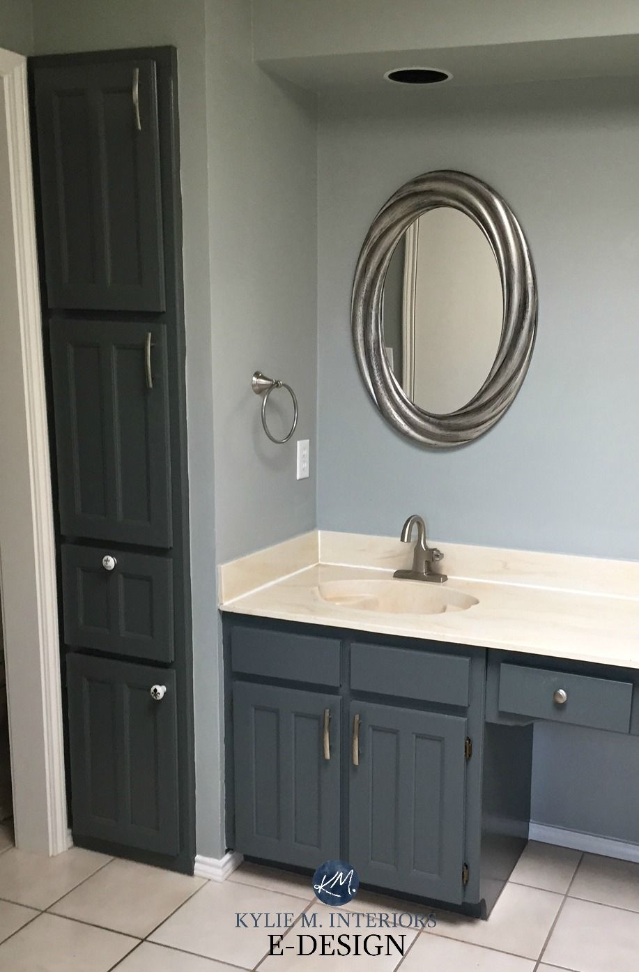 E Design An Almond Bathroom Gets A Fresh Paint Colour With