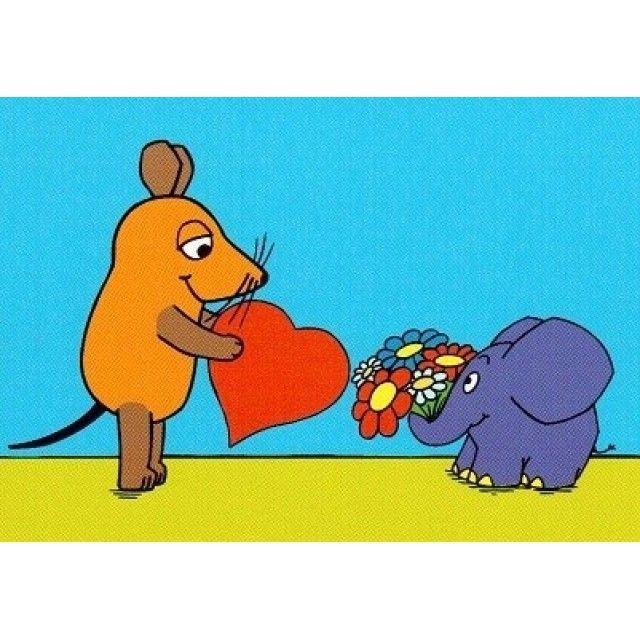 postkarte maus und elefant mit herz  postkarten poster