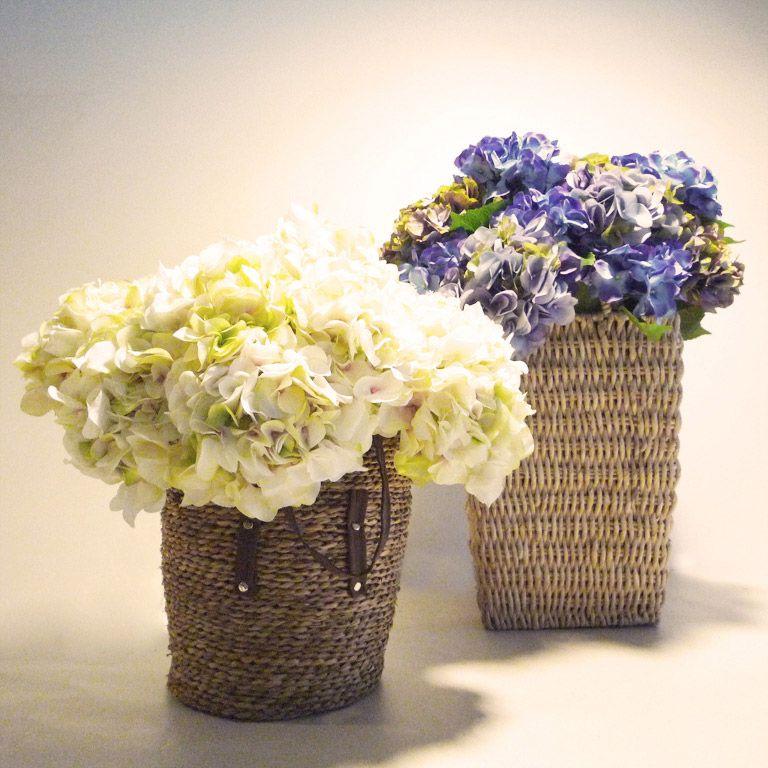 Plantas y flores artificiales hortensias en cestos de - Decoracion de jarrones con flores artificiales ...