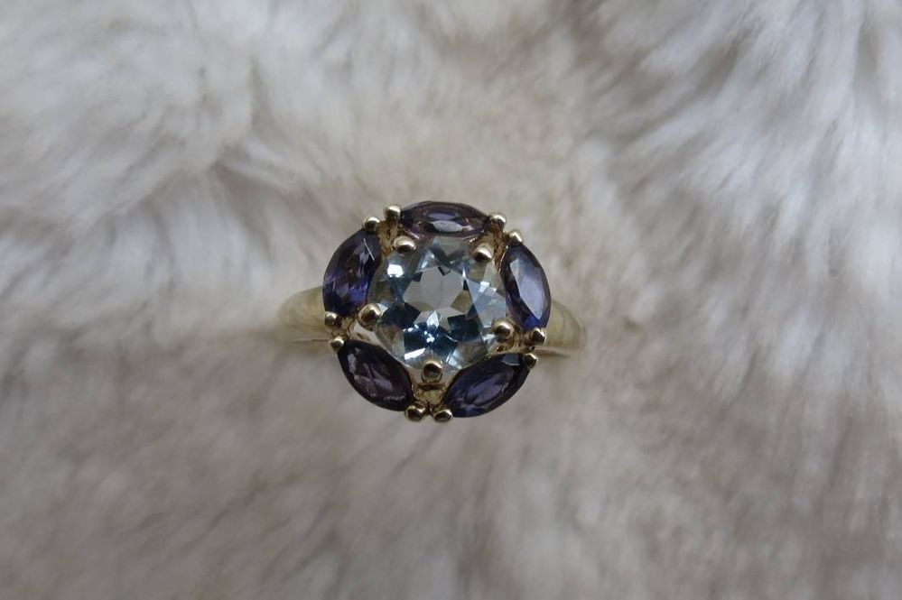 9CT GOLD BLUE TOPAZ /& DIAMOND CLUSTER ENGAGEMENT RING SIZES I V