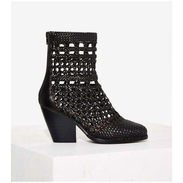 Jeffrey Campbell Nevada Woven Boot (£87) ❤ liked on Polyvore featuring shoes, boots, ankle booties, black, black leather boots, chunky black boots, chunky black booties, chunky booties and black boots