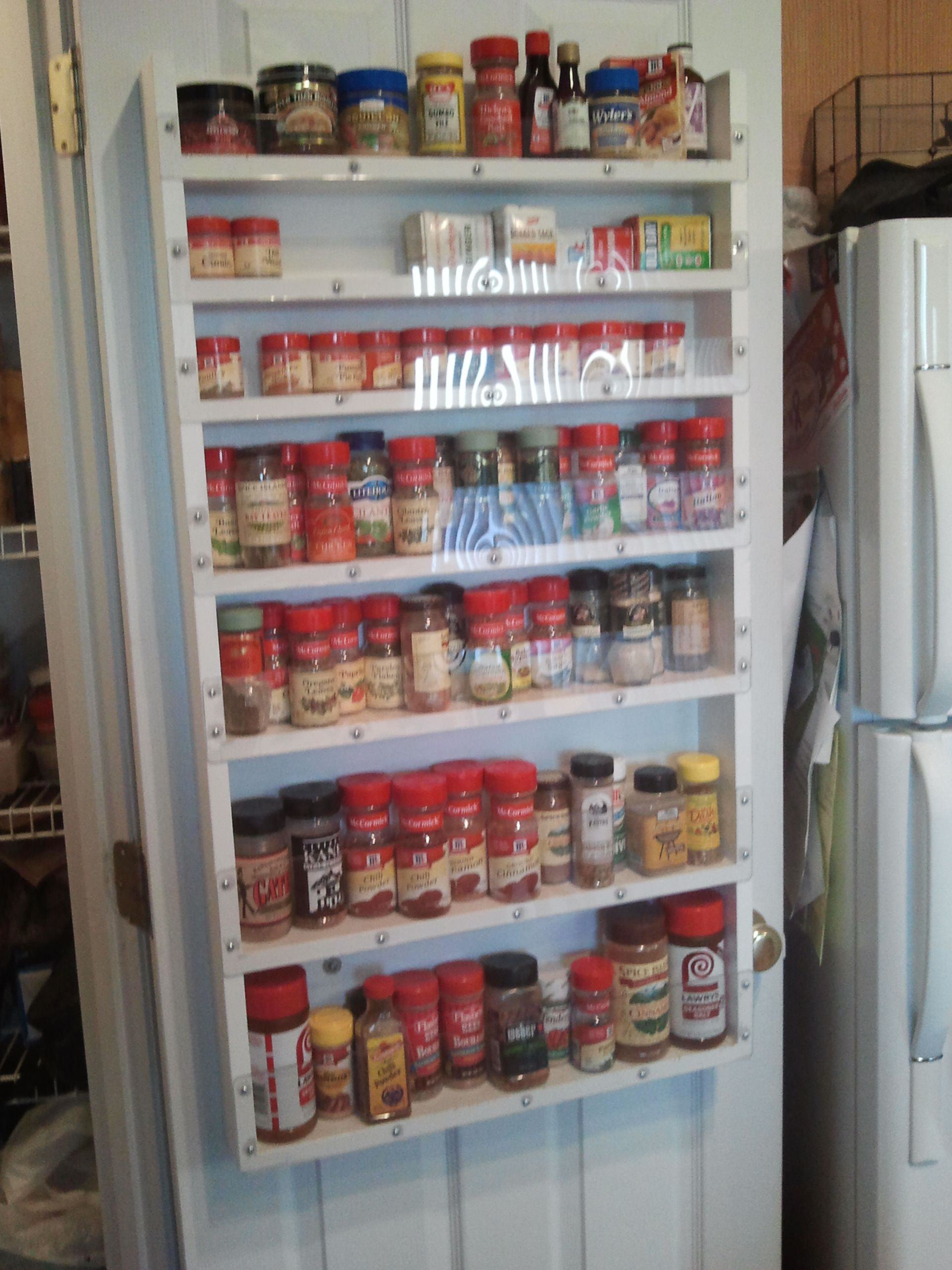 Large spice rack for the back of the pantry door each shelf has