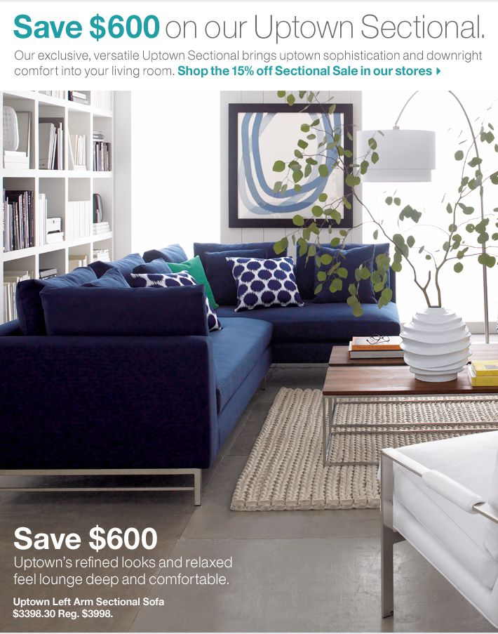 Crate And Barrel Modern Sofa Sectional Living Room Designs Blue Living Room
