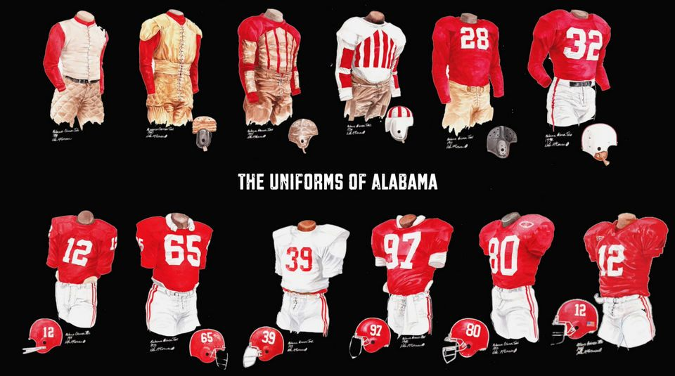 best loved 39e26 e54e1 See how Alabama's football uniform has changed through time ...