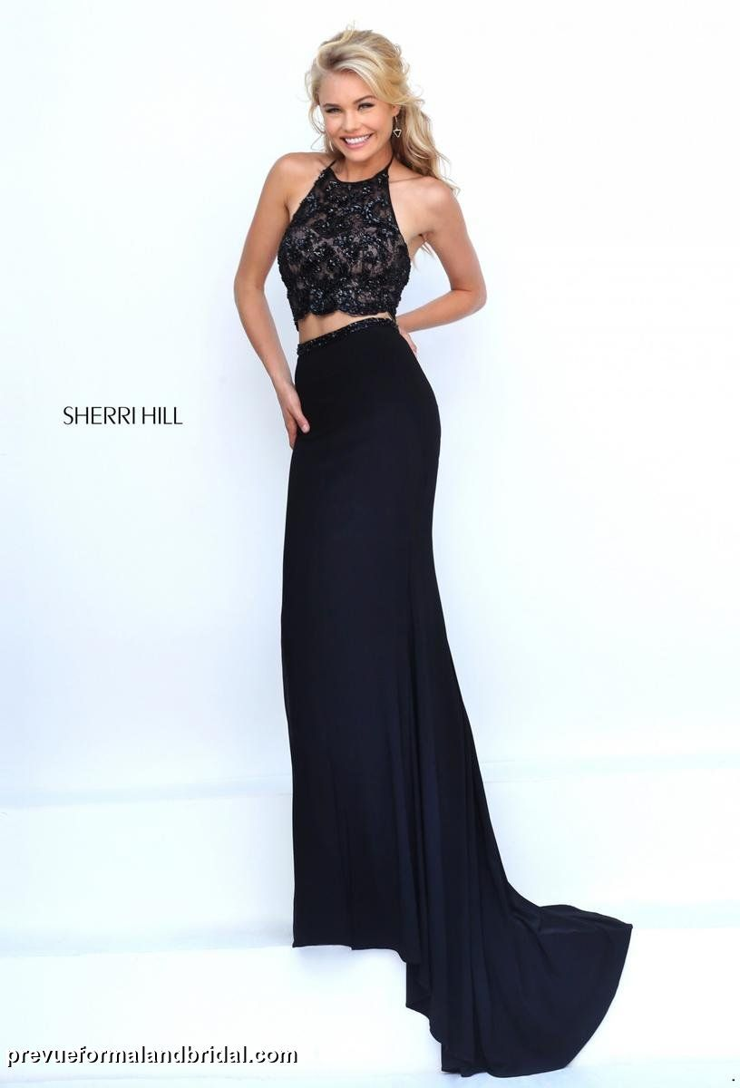 Two piece black prom dress black sleek and sexy prom dress