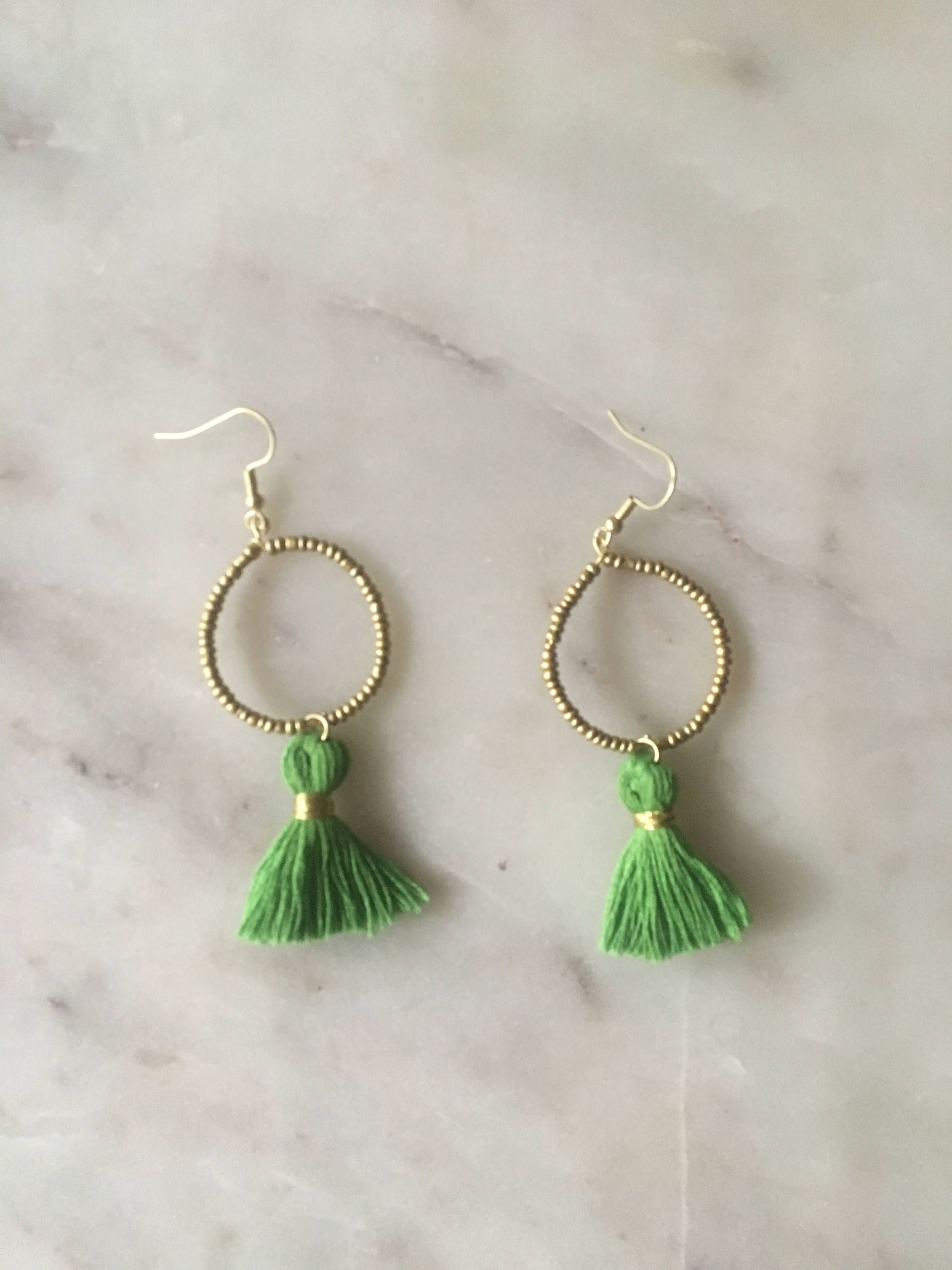 bead day green tassel gold pin hoop boho st earrings matte patricks