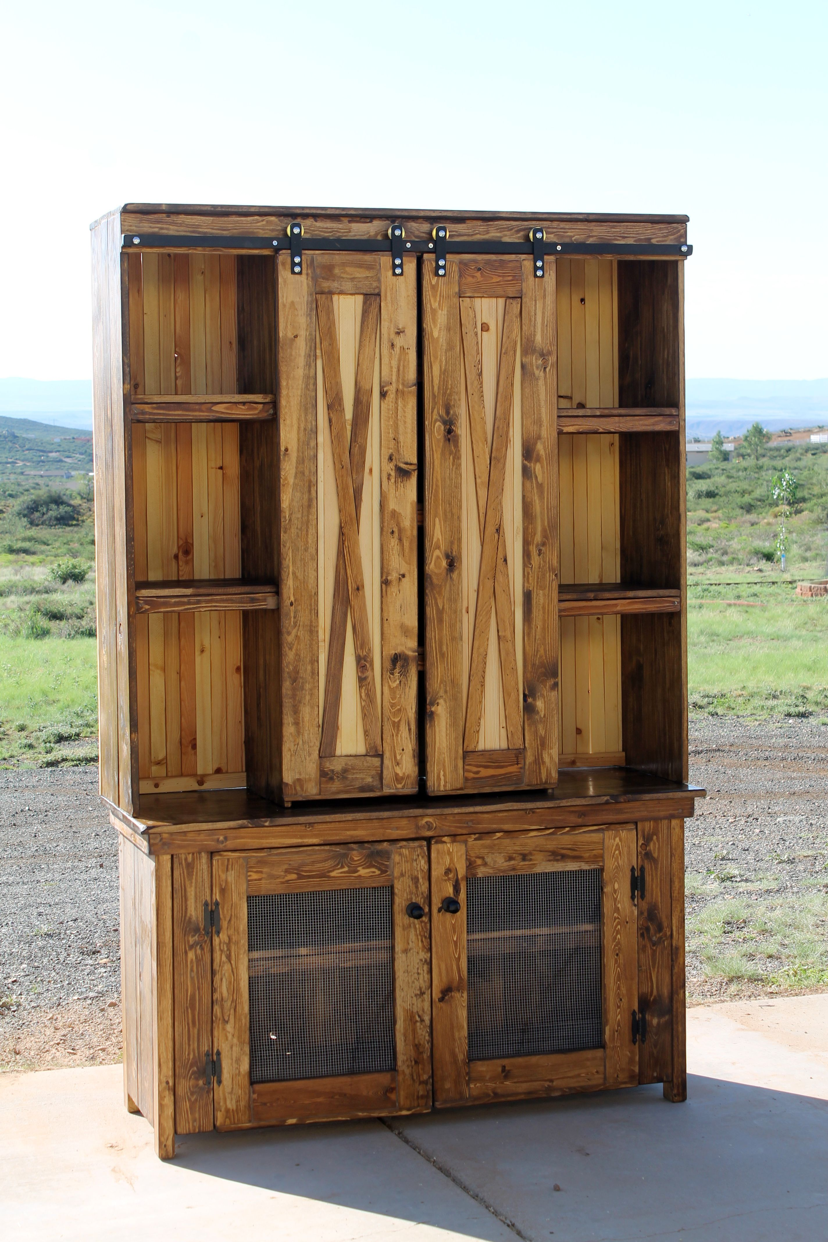 kitchen hutch with custom sliding barn doors