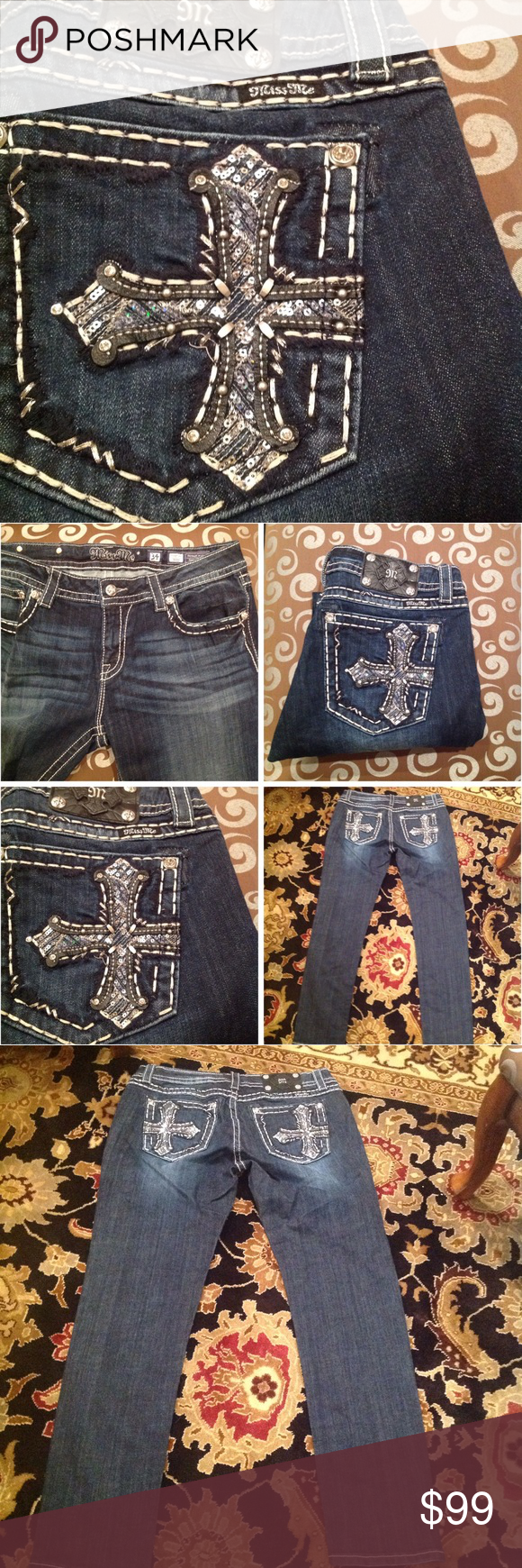 Miss Me ⓈⒺⓍⓎ➌➍🆕💋 These jeans are fabulous very figure flattering to with just the right amount of bling on the pockets they are brand-new never worn or washed without tags! ~ ♡inseam 31 PRICE FIRM Miss Me Jeans Skinny