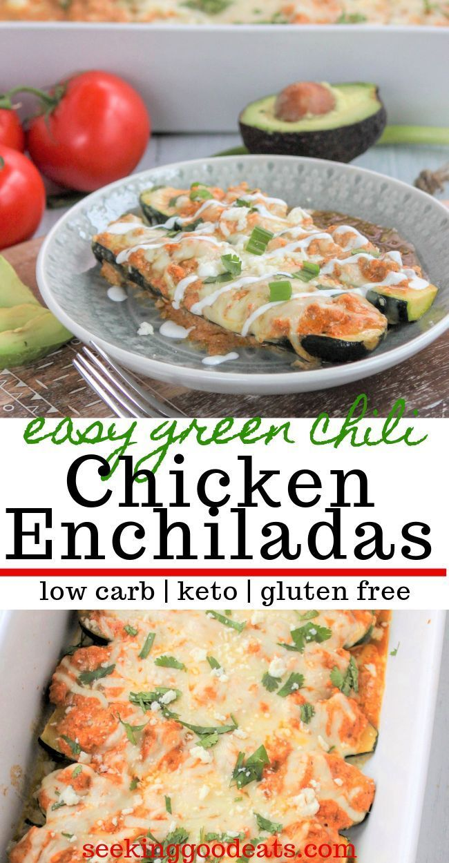 A favorite Mexican recipe made low carb gluten free and keto friendly These green chili chicken enchiladas are so delicious and make with zucchini An easy weeknight dinne...