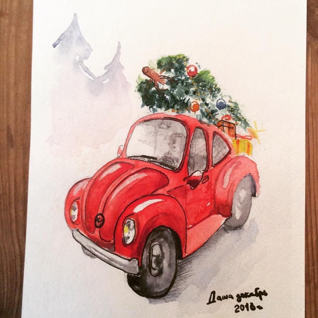 Подарки и ёлка на моем любимом красном фольксваген жук ...