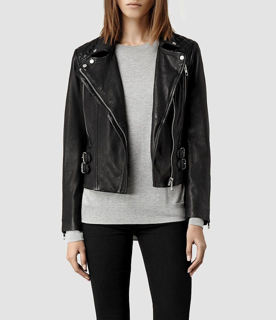 Leather jacket all saints - Womens Hawks Leather Biker Jacket Khaki Product_image_alt_text_1 Women Leather Jacketsall Saintssimple