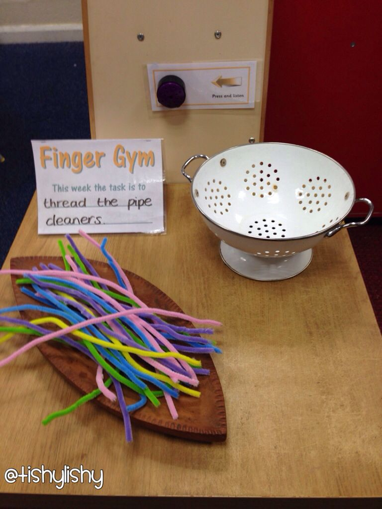 Finger Gym - threading pipe cleaners | stacey | Pinterest