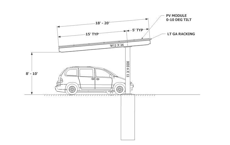 Solar Single Column Single Carport Solar Carport Designs