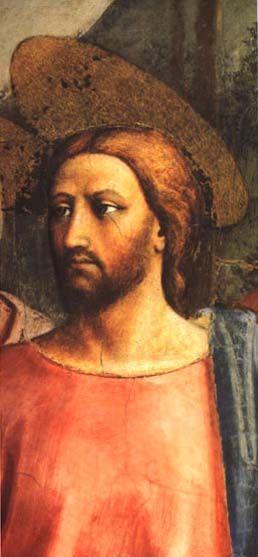 3-  MASACCIO - Il pagamento del tributo (dettaglio: Cristo) - affresco - 1424-1425 ca.- Cappella Brancacci (parete sinistra), Chiesa di Santa Maria del Carmine, Firenze.