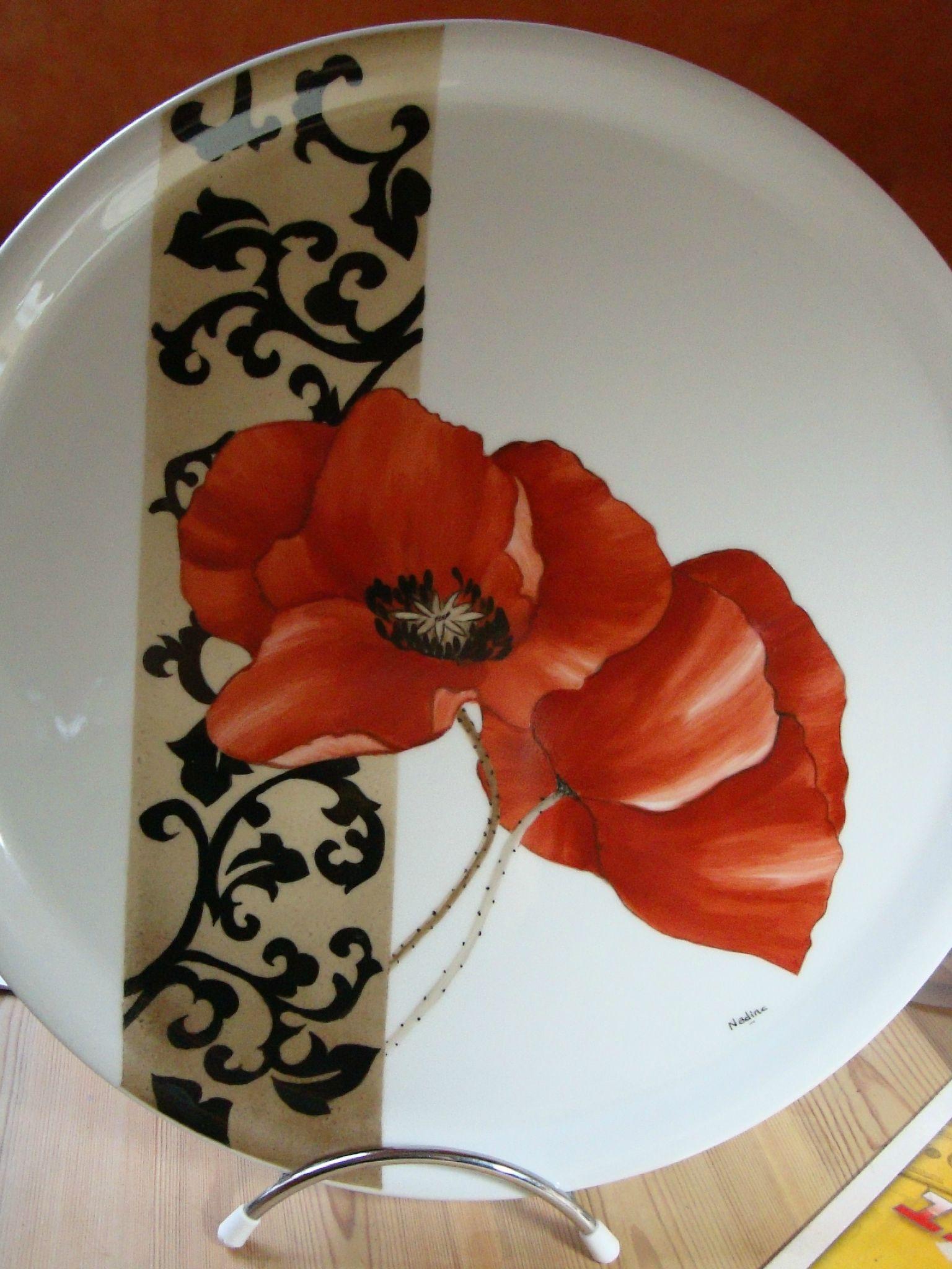 Peinture Sur Porcelaine Assiette coquelicot d'après tatiana | porcelaine peinte, poterie