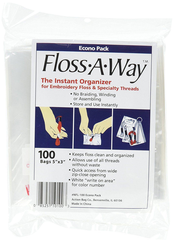 """ACTION BAG FL100 Floss-A-Way Organizer-3/""""X5/"""" 100//Pkg"""