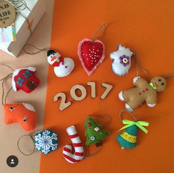Felted Christmas ornaments set, baby educational Montessori toys
