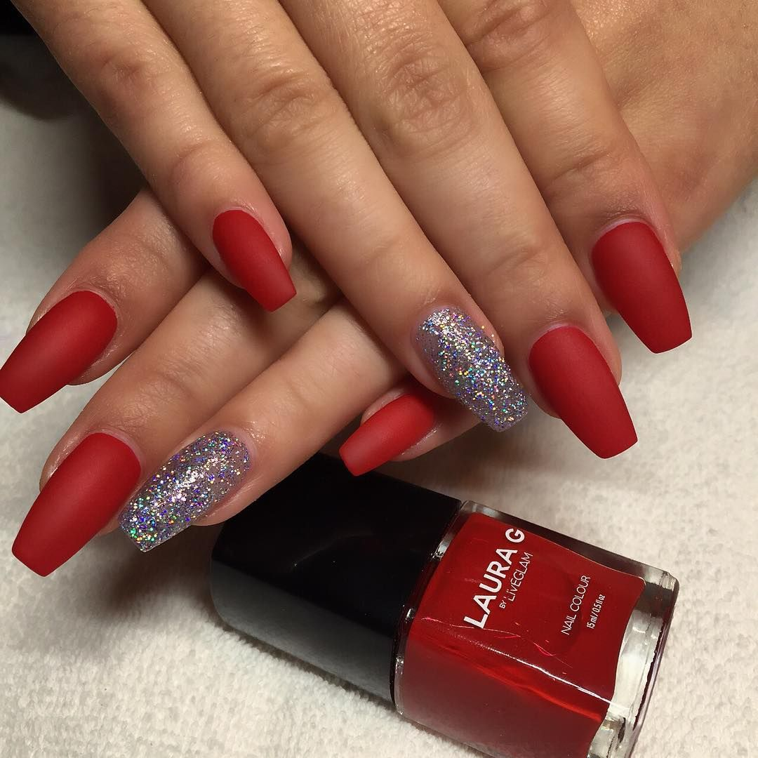 Christmas Nails With Glitter: Holiday Red And Silver Glitter Long Coffin Nails #nail