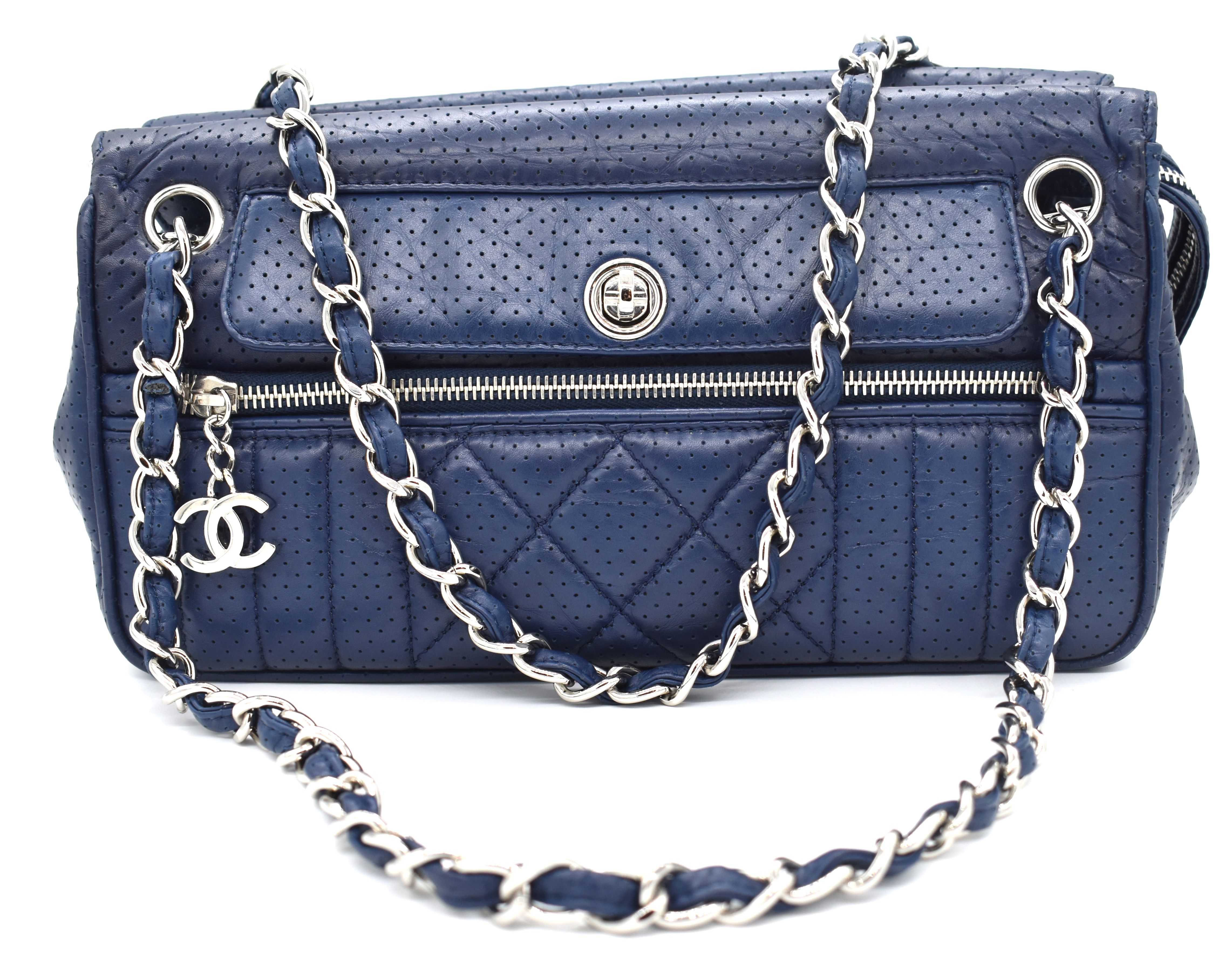 605c7559def5 All the Chanel, all the time. Rent this navy blue Chanel shoulder bag from  DesignerShare.