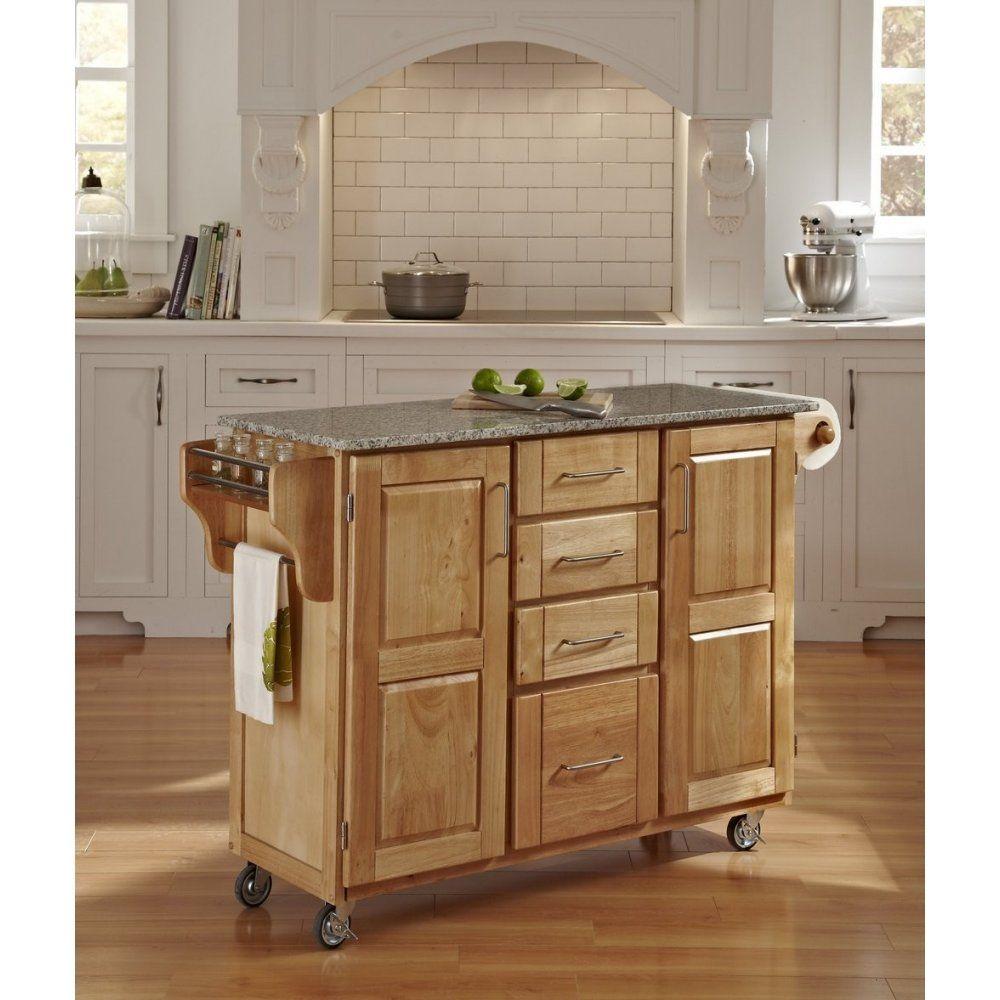 Create A Cart Natural Finish Sp Granite Top Homestyles Furniture 9100 1013 In 2020 Granite Tops Home Decor Furniture