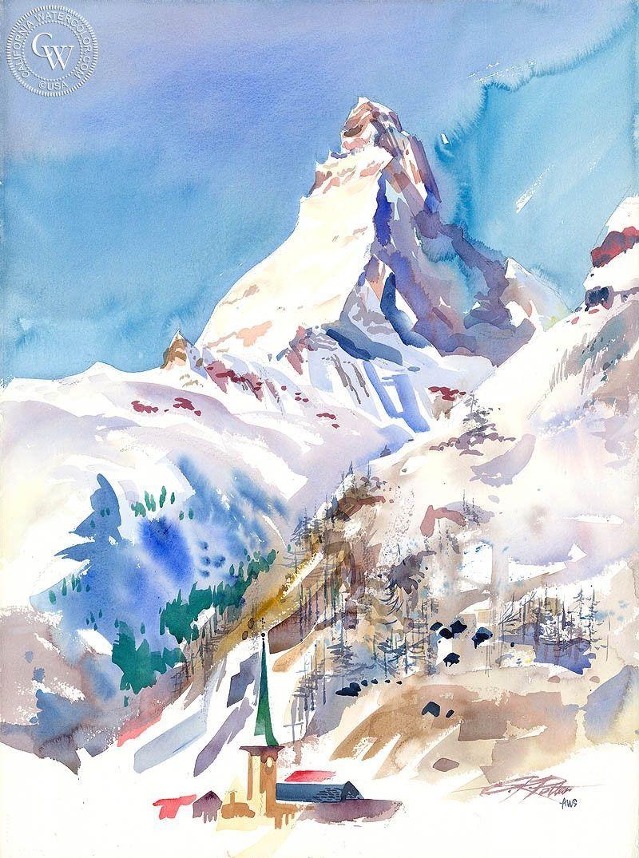 Matterhorn Switzerland 1993 In 2020 Watercolor Landscape