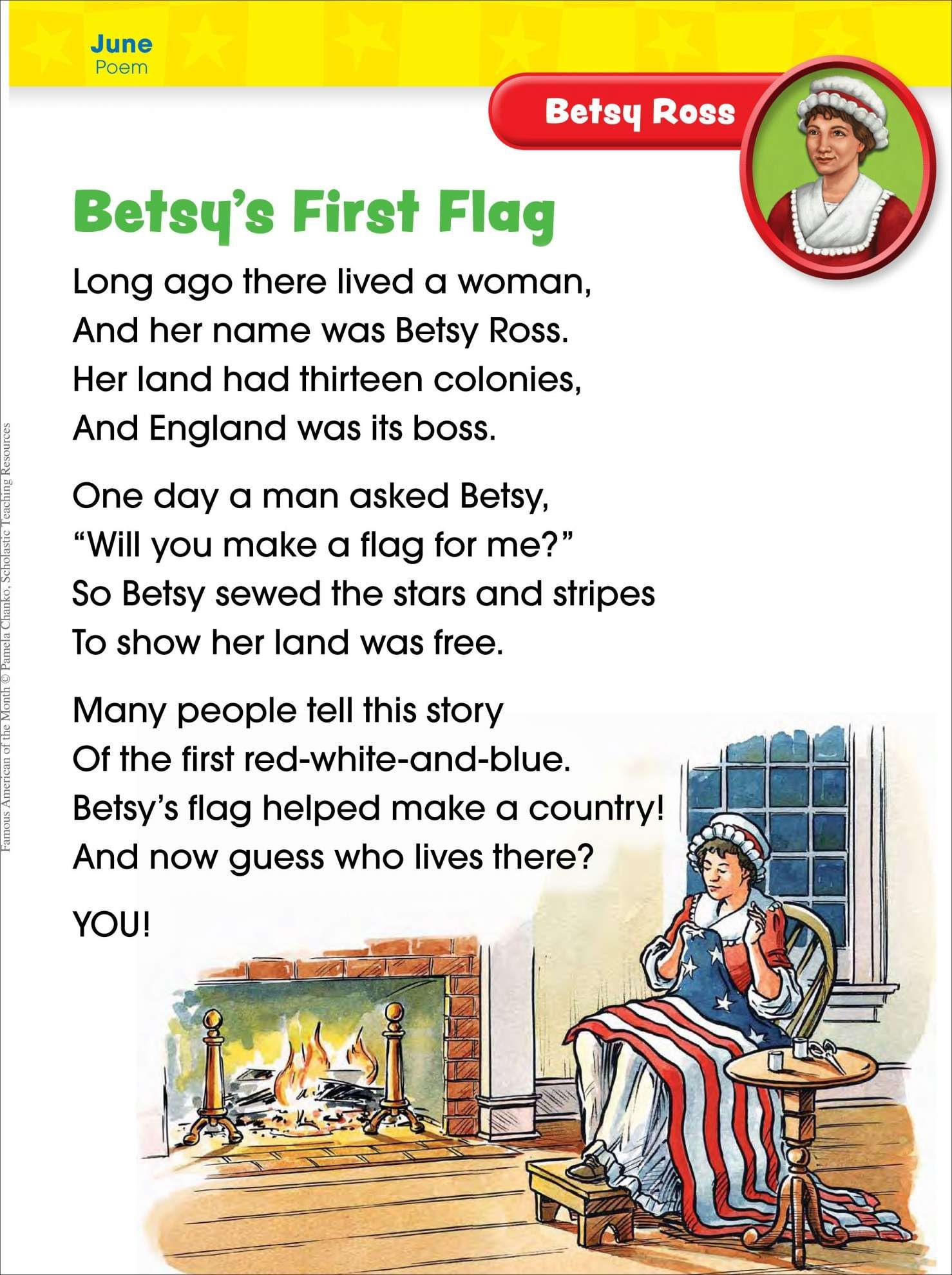 12 Betsy Ross Reading Worksheet