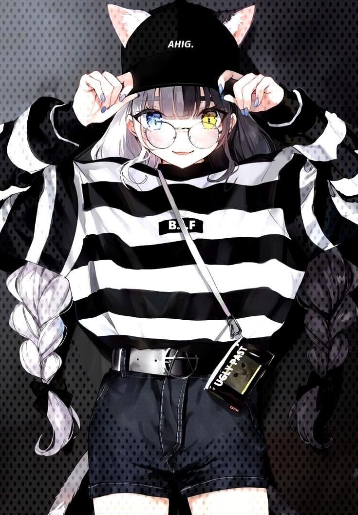 manga fille cheveux blanc noir yeux vairon bleu jaune lunette casquette chat -