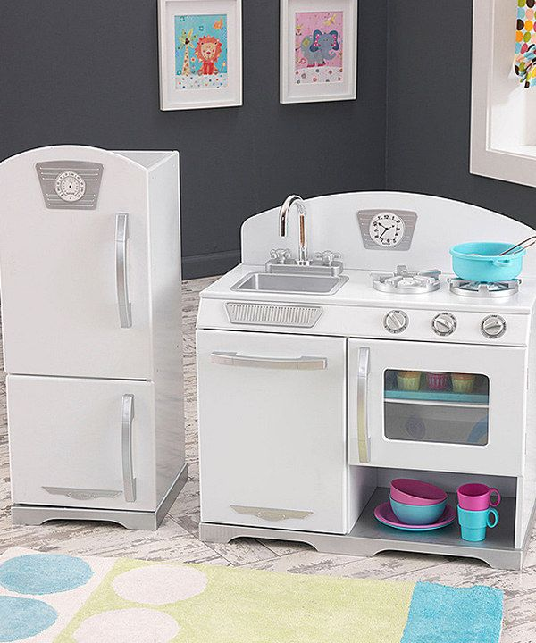 look at this kidkraft white retro play kitchen set on #