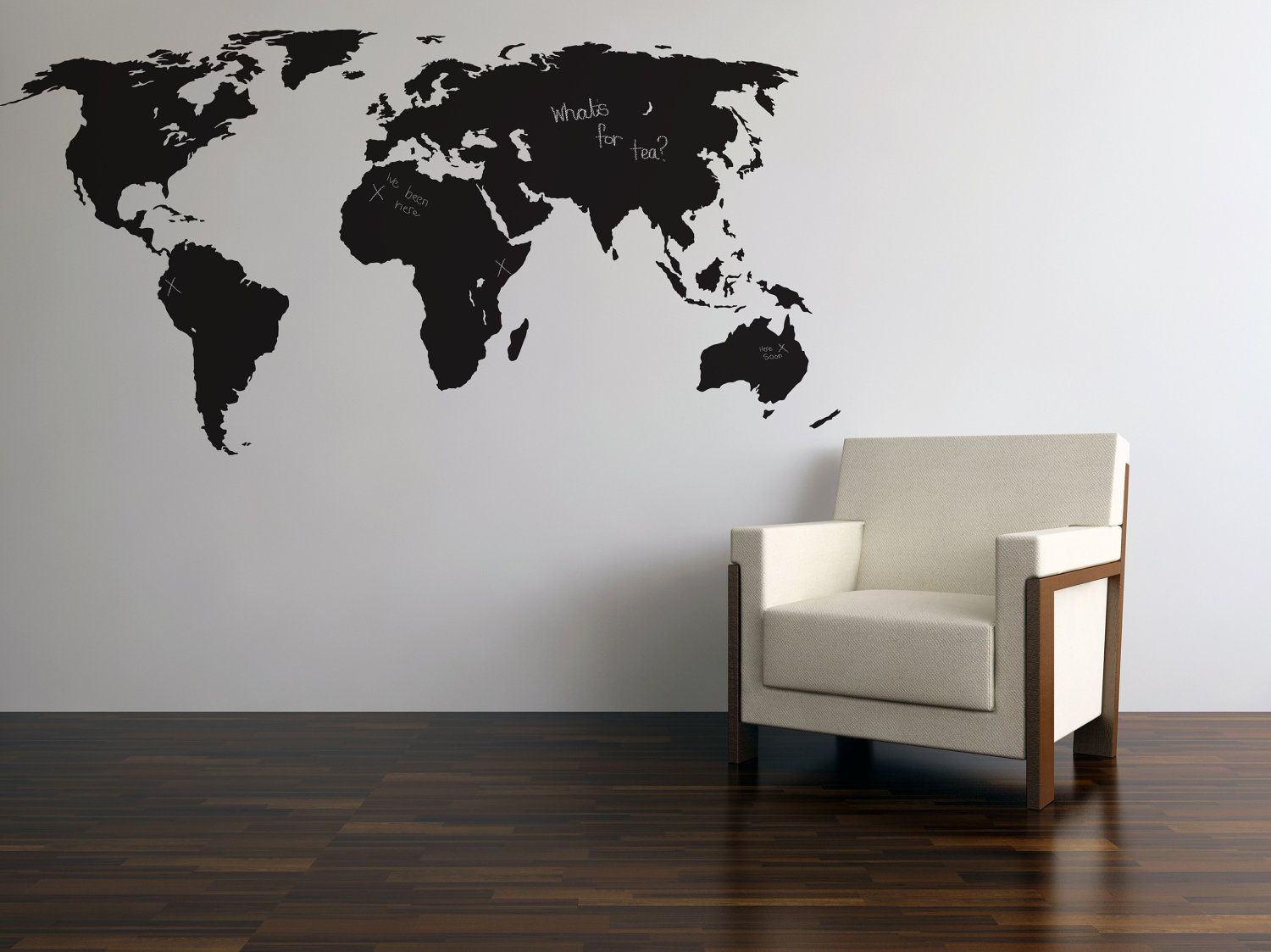 Chalkboard world map silhouette wall sticker with chalk pinterest blackboardchalkboard world map wall stickers 3499 via etsy gumiabroncs Image collections