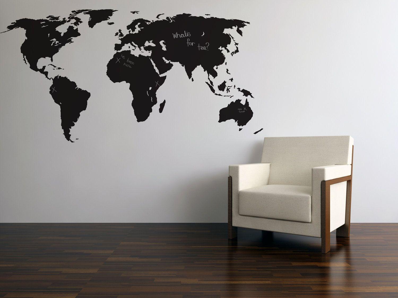 Blackboardchalkboard world map wall stickers 3499 via etsy blackboardchalkboard world map wall stickers 3499 via etsy gumiabroncs Gallery